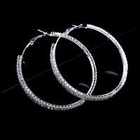 ohrringe großer kreis silber großhandel-Mode Große Kristall Ohrringe Hoops Große Creolen Silber Ohrringe Rond Creolen Für Frauen Kreis Schmuck Hochzeit Zubehör