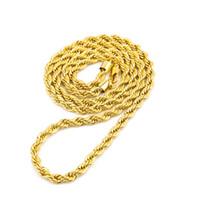 cuerda de oro macizo de 14k al por mayor-6.5mm de espesor 80cm de largo Cadena trenzada de cuerda sólida 14K Chapado en oro plateado Hip hop Twisted Heavy Collar 160gram Para hombres