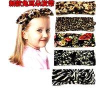 Wholesale Vintage Baby Headwear - 2016 new European vintage print flower children rabbit ears headband baby leopard stretch cotton Hair Accessories Headwear E197