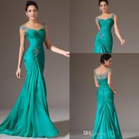 Wholesale Chiffon Mermaid Style Dresses - Sexy Mermaid Evening Dress V-neck Floor Length Turquoise Chiffon Cap Sleeve Prom Dresses Beaded Pleats Zipper Back Discount Prom Gowns