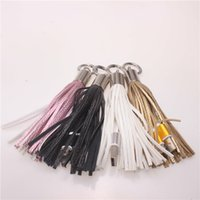 Wholesale Hot Pink Usb Charger - Tassel Charging Cable USB Metal Ring Key Chain Tassels Portable Micro USB Short Charging Data Cord Charger Cable for samsung s6 s7 edge hot