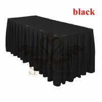 Wholesale Ruffled Table Cloth - Black Color Ruffled Poly Table Skirt Wedding Table Cloth Skirting