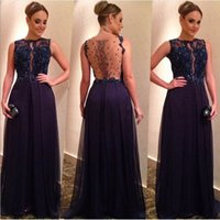 Wholesale illusion dinner dresses - Fashion Backless Long Evening Dresses 2016 Appliques Lace Beaded Navy Blue Chiffon Women Dinner Gowns Formal Prom Gown