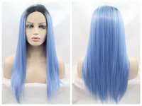 Wholesale Usa Wigs - Long Straight Wig Ombre Blue Synthetic Lace Front Wigs Heat Resistant With Dark Roots Free Shipping To USA