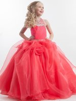 Wholesale Communion Dresses Size 14 - Halter Crystal Beaded Puffy Organza Coral Floor Length Ball Gown Junior Pageant Dresses For Girls Size 12 First Communion Dress