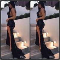 Wholesale Legging Sexy Models - Sexy Black Deep V Neck Sequins Prom Dresses Leg Side Split Back Criss Cross Straps Cocktail Party Dress Sparkling Mermaid Evening Gowns