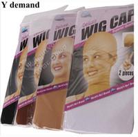 peluca de calidad marrón al por mayor-12 unids / lote (6 paquetes) Negro / marrón / beige color peluca de lujo tapa de malla de alta elasticidad tejer la tapa para la demanda de Y de alta calidad WIG