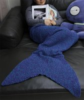 Wholesale Air Conditioner Blanket - Goods In Stock Mermaid Tail You Four Seasons Knitting Cotton Blanket Sofa Air Conditioner Carpet Adults