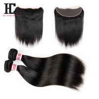 Wholesale Ear Loops - Ear To Ear Lace Frontal Closure With Bundles 7A Peruvian Virgin Hair With Closure Straight Hair 13x4 Lace Frontal With Bundles