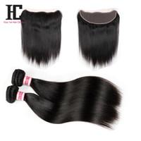 Wholesale Ear Loops Wholesale - Ear To Ear Lace Frontal Closure With Bundles 7A Peruvian Virgin Hair With Closure Straight Hair 13x4 Lace Frontal With Bundles