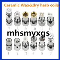 Wholesale Dry Herb Atomizer Wax Coil - 12 Glass Globe Ceramic Titanium Wicks replacement COIL Nail ATOMIZER vaporizer VAPE PEN Coil For globe Dome set Dual Wax Dry herb Coils