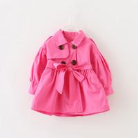 Wholesale Girls Wind Coat - 2016 Autumn Children Clothing Infant Baby Girl Wind Coat Baby Girl Pure Cotton Princess Outwear Coat With 3Colors