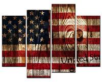 ingrosso dipinti di bandiera americana-Dipinti Still Life Canvas the Stars e the Stripes American Flag Annuale Ring 4 Panel Picture Print su Canvas per la decorazione domestica moderna