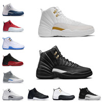 Wholesale Mens Basketball Shoes Sale - BEST New 2018 mens Basketball Shoes 12 FLU game Whith TAXI French blue gym red wolf Grey Playoff Gamma Blue RepliCAs sale