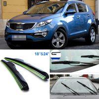"Wholesale Sportage R - 2pcs 24""+18"" front windscreen windshield wiper blades Soft Rubber WindShield Wiper Blade For KIA Sportage R"