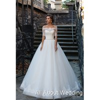 Wholesale Half Transparent Sleeve Dresses - Half Sleeve Boat Neck Wedding Dresses with Pearl Beaded Belt Ball Gown Illusion Transparent Sleeve Bridal Gown