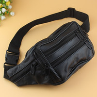 Wholesale Wholesale Leather Fanny Packs - Good Quality Leather waist pouch large waist bag leather bag Fanny pack sports bag 5 pockets