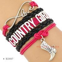 Wholesale Wholesale Boot Bracelets - Infinity Love Country Girl Charm Cowboys Boot Bracelets Wrap Leather Wax Hot Pink Black Women Fashion Gift Custom Design Drop shipping