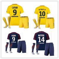 Wholesale France Football Kits - 2017 2018 men kit France Paris soccer jersey+socks 17 18 neymar jr Di Maria Matuidi Silva Ben Arfa Cavani Germain DANI ALVES football shirt