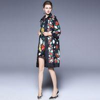 Wholesale Jacquard Rose Coat - 201Women's Jacket Fall Fashion New Women's Rose Print Jacquard Nine Sleeve Loose Lapel Jacket Coat