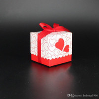 Wholesale Sweet Candy Box Red - Candy Box With Red Ribbon Seal Hollow Double Love Heart Creative Gift Sweet Case For Wedding Party Home Decor 0 17zj R
