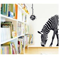 Wholesale Zebra Print Decorations - 100pcs delicate huge black zebra bird nest wall sticker kids 9030. diy print mural art decal animal home decoration living playroom 3.5