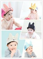 Wholesale Cartoon Hats Long Ears - 2016 Baby 3D rabbit ears peaked cap cotton mesh splicing cap infants spring summer cartoon animal ball cap toddles 3d Long Ears hat 4colors