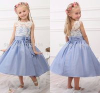 Wholesale Infant Dresses Flower Tops - Free Shipping 2016 New Real Princess White Top Blue Flower Girl Dresses Tea Length Tulle Infant Little Girl Birthday Party Dresses HY1268