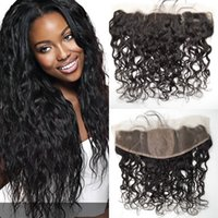 Wholesale Silk Top Lace Closure Indian - G-EASY Silk Top Lace Frontal Closure 13x4 With Baby Hair Water Wave Wet and Wavy Peruvian hair closure