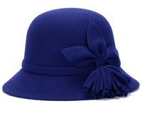 Wholesale Girls Felt Derby Hats - 100% Wool Fashion Style Soft Girls Vintage Retro Wide Brim Wool Felt Bowler Fedora Hat Floppy Cloche Big Brim Hat