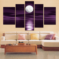 Wholesale Bright Canvas Set - 100% Hand made Abstract sea bright moon Light up the water of the sea Wall Decor Oil Painting on canvas 5 pcs set
