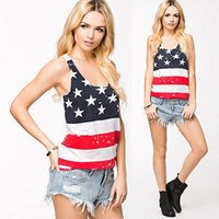 Wholesale Summer Tops Usa - Fashion Women Summer Sexy Sleeveless Tops American USA Flag Print Stripes Tank Top for Woman Blouse Vest Shirt