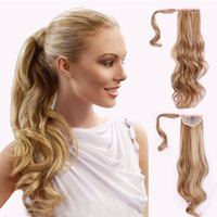 Wholesale ponytails online - Clip Ponytail hair extensions synthetic Curly wavy hair pieces inch g drawsring Pony tails women fashion