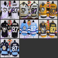 Wholesale Blue El Light - Stitched NHL Pittsburgh Penguins #87 Sidney Crosby Black White Light Black yellow Blue Hockey Jerseys Ice Jersey do Drop Shipping,Mix Order