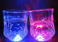 Wholesale Led Glass Coasters - High Quality Christmas LED Flashing Bottle Coaster Sticker For Drinks Glasses For Night Club And Bars Beer Party Decoratio MYY