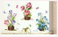 ingrosso vaso di fiori di vinile-20170Hand-painted Adesivo da parete in vinile Fiore Adesivo da parete Adesivo per bambini Camere Adesivi murali Decorazioni per la casa Camera da letto