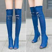 Wholesale Plush Easter Peeps - Winter new thin heels over the knee thigh-high boots women fashion boots denim peep toes hole shoes