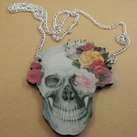 Wholesale Good Wood Necklace Skull - Skull & Flowers Wooden Pendant Animal Cool Good Wood Hiphop Fashion Necklace Wholesale #AS1