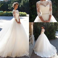 Wholesale Pearl Bridal Dress Belt - 2017 New Wedding Dresses Milla Nova Lace Bateau Neck A-line Half Sleeves Button Back Beaded Belt Appliques Garden Novia Bridal Gowns