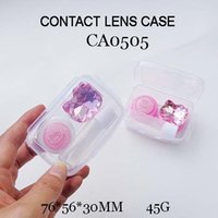 Wholesale Colorful Contact Cases - FREE SHIPPING! CA0505 round KT and bling bling pink diamond DECO colorful contact lens case, PP box