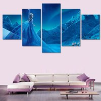 Wholesale Child Cartoon Picture Frame Paintings - No Framed 5 Pcs Home Decorative Movie Snow And Ice Wall Art Picture Printed Oil Painting For Children Room Decor Canvas Art Prints