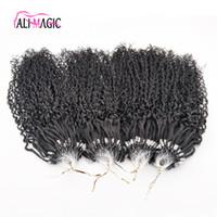 nano anillos de pelo al por mayor-Descuento Mejor Kinky Curly Nano Anillo Extensiones de Cabello Humano 1g Pelo Remy Indio Micro Loop Extensión Del Pelo Natural Negro Profundo Wave 100beads
