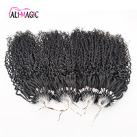 Wholesale Nano Ring Hair Extensions Indian - Discount Best Kinky Curly Nano Ring Human Hair Extensions 1g Indian Remy Hair Micro Loop Hair Extension Natural Black Deep Wave 100beads