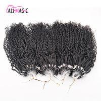 hint remi kıvırcık insan saçı toptan satış-İndirim En Sapıkça Kıvırcık Nano Halka İnsan Saç Uzantıları 1g Hint Remy Saç Mikro Döngü Saç Uzatma Doğal Siyah Derin Dalga 100 boncuk