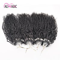 Remise Best Kinky Curly Nano Ring Extensions de cheveux humains 1g Indian Remy Hair Micro Loop Extension de cheveux Natural Black Deep Wave 100pads