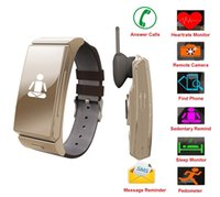 Wholesale Golden Earphones - Smart Fitness Watch With Bluetooth Earphone OLED Screen Display Heart Rate Monitor Sleep Monitor Remote Camera for iPhone and Android Smart