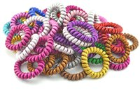 Wholesale Telephone Wire Hair Tie - Lots 10PCS Fabric Telephone Wire Hair Band Wrapped Cloth Ponytail Holder Elastic Phone Cord Line Hair Tie Hair Accessories