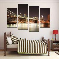 grandes pinturas de lienzo al por mayor-Amesi Canvas Painting Oil Printing La escena nocturna de Manhattan Great Bridge Landscape Oil Paintings Decoration