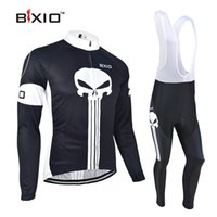 Wholesale Suits Cycling Jersey Long Sleeve - BXIO Brand Anti Pilling Cycling Bib Sets Full Zipper Black Cycle Jerseys Long Sleeve Bike Clothing Suit Bikes Clothes BX-024