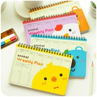 Wholesale Wholesale Diary Book - Wholesale- 5 pcs Lot Coil Weekly plan Animal Spiral Notebook Diary books agenda caderno escolar stationery office School supplies 5508